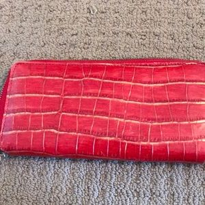 Red leather wallet - Saks Fifth Avenue